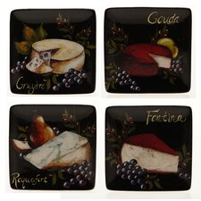 "Wine and Cheese Party 6"" Canape Plate (Set of 4)"