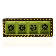 "Mi Casa 18.75"" x 7"" 4-Section Rectangular Relish Tray"