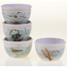 "Beach Cottage 5.5"" x 3.25"" Ice Cream Bowl (Set of 4)"