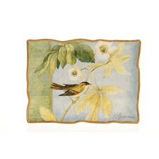 "Botanical Birds 16"" Rectangular Platter"