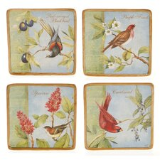 "Botanical Birds 6"" Canape Plate (Set of 4)"