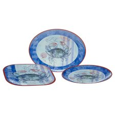 <strong>Certified International</strong> Blue Crab by Geoff Allen 3-Piece Serving Set