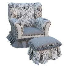 Toile Child's Wingback Chair and Ottoman Set