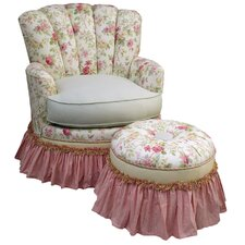 English Bouquet Adult Princess Glider Rocker and Ottoman