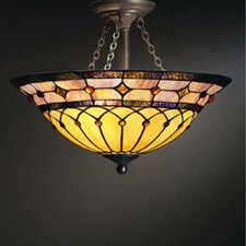 Tiffany 3 Light Semi Flush Mount