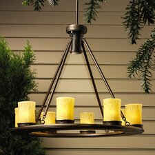 Oak Trail 9 Light Outdoor Candle Chandelier