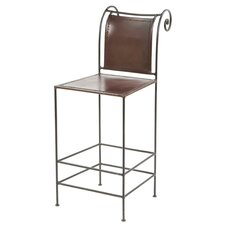 "26"" Pub Leather and Iron Counter Stool"