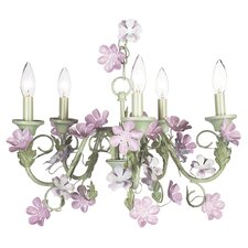 <strong>Jubilee Collection</strong> 5 Light Leaf and Flower Chandelier