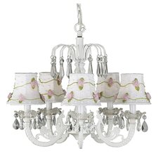 <strong>Jubilee Collection</strong> Waterfall 5 Light Chandelier with Net Flower Shade