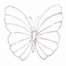 Small Wire Beaded Butterfly in Pink/White