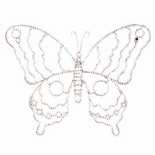 Large Wire Beaded Butterfly in Pink/White