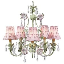 <strong>Jubilee Collection</strong> Flower Garden 5 Light Chandelier with Plain Shade