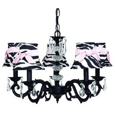 Glass Turret 5 Light Chandelier with Bell Shade / Sash