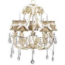 Ballroom 5 Light Chandelier with Check Shade with Sash