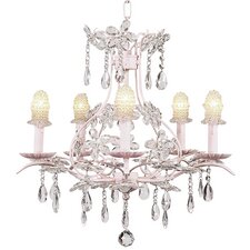 <strong>Jubilee Collection</strong> Cinderella 5 Light Chandelier with Bulb Cover Shade