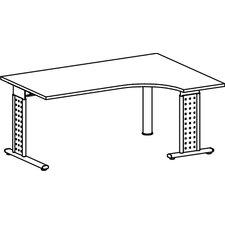 """120 x 160cm PC-Schreibtisch rechts """"Madrid"""" in Silber"""