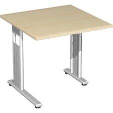 """80 x 80cm Schreibtisch höhenverstellbar / rechts zurückgesetzt """"Lissabon"""" in Silber"""