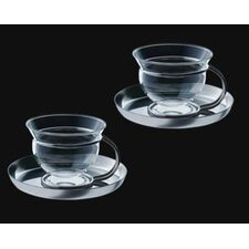 Mono Filio Glass Teacups with Saucer (Set of 2) by Tassilo von Grolman