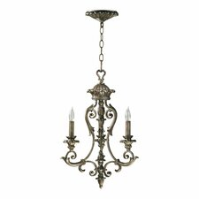 Barcelona 3 Light Chandelier in Mystic Silver