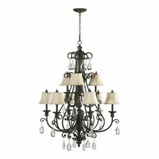 <strong>Quorum</strong> Fulton 9 Light Chandelier with Cream Shade