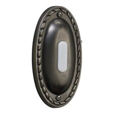 Oval Door Chime Button in Antique Silver