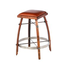"24"" Leather  Stave Stool"