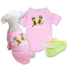 Beach Bum T-Shirt and Plush Flip Flop Dog Toy