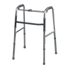 Single Release Aluminum Folding Walker in Silver