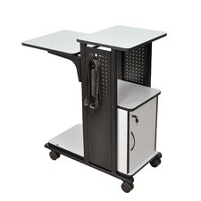 4-Shelf Mobile Presentation Station with Cabinet