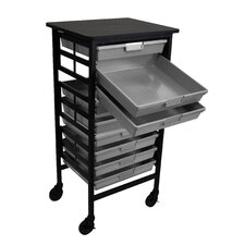 Mobile Work Center with Single Extra Wide Storage Trays