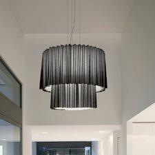 Skirt 2 Tier Drum Pendant with Black Netting (Incandescent)