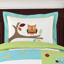 <strong>Sweet Jojo Designs</strong> Hooty Turquoise and Lime Collection Standard Pillow Sham