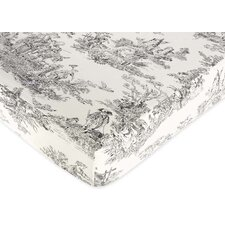 Toile Fitted Crib Sheet