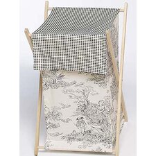 Black Toile Laundry Hamper