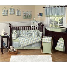 Argyle Green Blue 9 Piece Crib Bedding Set