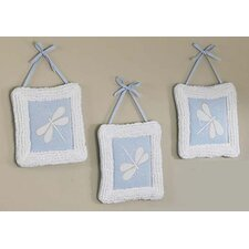 3 Piece Blue Dragonfly Dreams Hanging Art Set