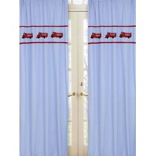 Fire Truck Cotton Curtain Panel Pair