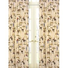 Wild West Cowboy Print Cotton Curtain Panel Pair