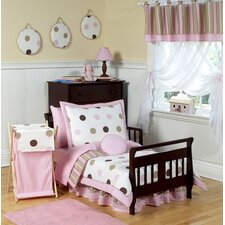 Pink and Chocolate Mod Dots Toddler Bedding Collection 5 Piece Set
