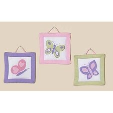 3 Piece Butterfly Pink and Purple Wall Hanging Set