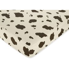 Cowgirl Cow Print Fitted Crib Sheet