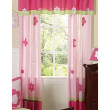 Flower Pink and Green Cotton Curtain Panel (Set of 2)