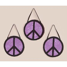 <strong>Sweet Jojo Designs</strong> Peace Purple Collection Wall Hangings (Set of 3)