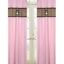 Teddy Bear Pink Curtain Panel (Set of 2)