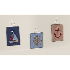 3 Piece Nautical Nights Collection Wall Hanging Set