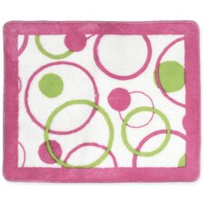 Circles Pink / White Collection Floor Area Rug