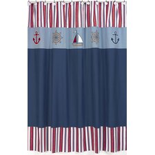 <strong>Sweet Jojo Designs</strong> Nautical Nights Cotton and Microsuede Shower Curtain