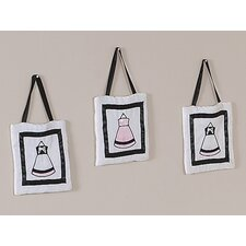 <strong>Sweet Jojo Designs</strong> Princess Black, White and Pink Collection Wall Hangings (Set of 3)