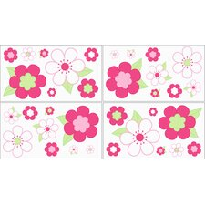 Flower Pink and Green Collection Wall Decal Stickers