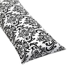 <strong>Sweet Jojo Designs</strong> Isabella Black and White Collection Body Pillow Case  - Damask Print